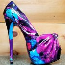 Rita Tropical Floral Patent Knot Platform Peep Toe Shoe Heel Purple Blue 5.5 - 8