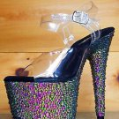 "Bejeweled 708 MS Green Multi Rhinestone Platform 7"" Stiletto Heel Shoe 8 9 10"
