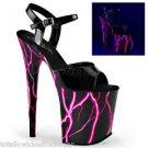 "Flamingo 809 NLB Black Patent Ankle Strap Shoe 8"" Heel Lightning Bolt Platform P"