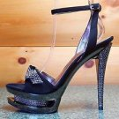 "Simple Elegant Black Suede Wrap Around Platform 6"" Pewter Rhinestone Heel Shoe"