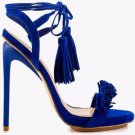 Privileged Miami Blue Open Toe Fringe Toe Tassel Wrap String Sandal Shoe 6.5-11