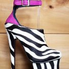 Zigi NY's London Trash Wynne Zebra Pony Hair Platform Shoe Fuchsia Size 6-10