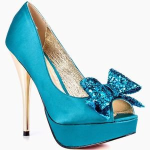 Luichiny Kissy Kiss - Teal Satin Glitter Bow Peep Toe High Heel Pump Shoe 7-11