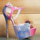 Alba Kera Coral Nude Multi Color Rhinestone Close Back Stiletto Heel Shoe