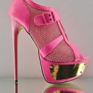 Liliana Sherman 1 Buckle Mesh Peep Toe Stiletto Bootie Shoe Neon Pink 7 - 11