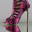 "Red Kiss Summer Dance Black / Pink Cut Out Tribal Print 4.5"" Heel Bootie Shoe"