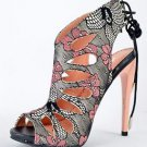 Alba Aviva Blush Multi Floral Print Open Toe Slingback Tear Drop Stiletto Heel