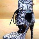 "Athena Biri Black Multi Color Abstract Animal Print  4"" Heel Pointy Toe Shoe"