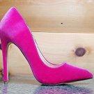 "Liliana Fuchsia Velvet Single Sole Pointy Toe Pump 5"" Heel Shoe 7-11"
