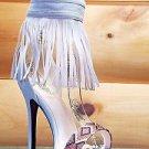 """Athena Elsie Beige Fringe Ankle Cuff 4"""" Mini Platform Sandal Shoe 7.5-10"""