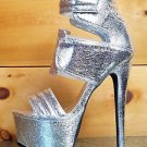 "Privileged Drama Silver Crinkle Open Toe Platform 6.5"" Stiletto Heel Shoe 6-10"
