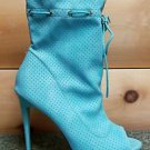 Mona Mia Alectrona Open Toe Preforated Drwstring Mid Calf Boot 7-11 Powder Mint