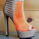 "Privileged Confident Neon Orange Mesh Open Toe Platform 6"" Heel Boot Shoe"