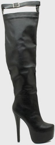 Nelly-17 Buckle Strap Platform Thigh High Boot Black Leatherette BACK IN STOCK