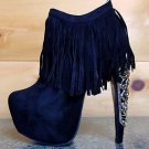 Privileged Lolla Black Fringe Gold Metal Detail Platform Banana Heel Ankle Boot