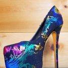 Alba Yang 47 Exotic Rainbow Metallic Black Fabric Platform Pump Shoe Sizes 7 & 9