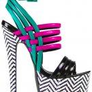 "Cubana Black White Chevron Platform Teal Fuchsia Ankle Wrap Sandal Shoe 7"" Heel"