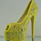 Kiss Yellow Rhinestone & Studs Sexy Platform Peep Toe Pump Heels 7 - 11