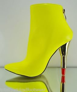 Kiss Me By Red Kiss Neon Yellow Pointy Toe Ankle Boot With Lipstick Heel 6-11