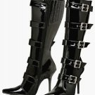 MILAN 2015 Black Or White Patent Multi Buckle Pointy Toe Knee Boots Size 9 or 10