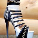 Athena Alize White Black Tribal Print Ankle Cuff Platform Shoe Size 7.5 or 8