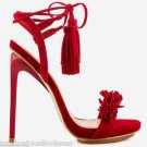 Privileged Miami Red Open Toe Fringe Toe Tassel Wrap String Sandal Shoe 7-11