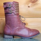 Privileged Gold Pyramid Stud Collar Flat Mid-Calf Boot Brown Cognac