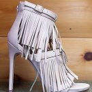 """Wild Rose Triple Fringe Melko Jersey Nude Beige 4.5"""" Heel Sandal Shoe 7-11"""