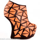 "Privileged Clinic Neon Orange 7"" Heel less Wedge Booty Geo Patchwork Size 7 Shoe"
