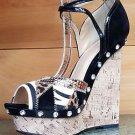 "Brazil Black Leopard FX Cork Wedge Ankle Strap Sandal Rhinestone 6"" Size 10"