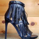 "Wild Rose Triple Fringe Melko Jersey Black 4.5"" Heel Sandal Shoe 7-11"