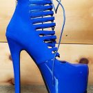 Privileged Denmark Royal Blue Corset Style Lace Up High Heel Ankle Bootie Shoe