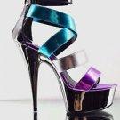 "Delight 678-9 Multi Color Pewter Purple Teal Strappy Ankle Shoe Platform 6"" 5-14"