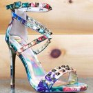 "Luichiny Humor Me Riot Multi Floral Studded Cross Strap Sandal Shoe 5"" Heel"