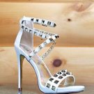 "Luichiny Humor Riot White Leatherette Gold Stud Cross Strap Sandal Shoe 5"" Heel"