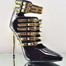 """RK Total Control Black / Gold Multi Strap 4.5"""" Heel Bootie Shoe Boot Size 7.5"""