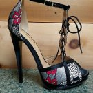 Alba Amanda Red Multi Floral Print Corset Lace Front Ankle Strap Stiletto Heel