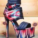 Stalker Stiletto Heel Platform Shoe Multi Red Blue Sizes 7 & 9