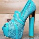 Alba Lusty Sara Lace Inlay Pump Peep Toe Platform Shoe Gold Sole Chunky Heel