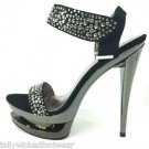 Fascinate 618 Pewter Rhinestone Black Suede Dual Platform Shoe Size 9