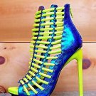 Luichiny Crunch Time Neon Yellow Iridescent Blue Tear Drop Stiletto Heel Shoe