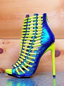Luichiny Crunch Time Neon Yellow Iridescent Blue Tear Drop Stiletto Heel Shoe