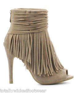 "Cape Cindy 3.5"" Heel Ankle Fringe Open Toe Booties Shoe Beige Nude 6-11"