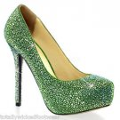 "Beautiful Green Suede & Rhinestone Hidden Platform 5"" Heel Pump Shoe Size 11"