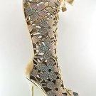 "Fantasia 2020 Flower Cutout Blush Suede Rhinestone Knee Boot 6"" Stiletto 11 & 12"