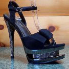 Simple Elegant Black Suede Bow Detail 6 Rhinestone Heel Pewter Platform Shoe 615