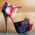 Alba Kera Red Black Multi Color Rhinestone Close Back Stiletto Heel Shoe