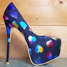 Alba Yang 48 Rainbow Metallic Heart Black Fabric Platform Pump Shoe Size 7.5