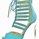 Mona Mia Erendira Mint Strappy Front High Tear Drop Heel Shoe