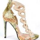 "Athena Aleesha Nude Green 4"" Heel Lucite Floating Vamp Open Toe Shoe 6.5-11"